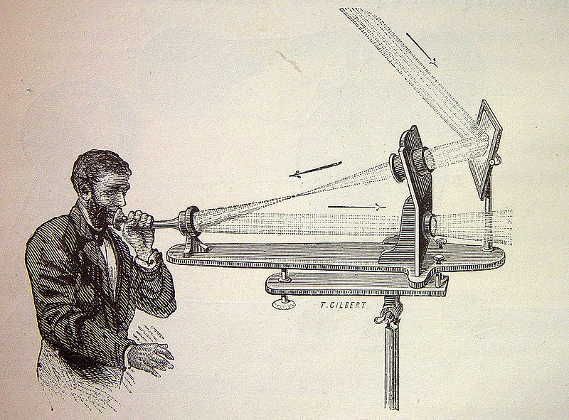 A sketch of Bell's photophone.