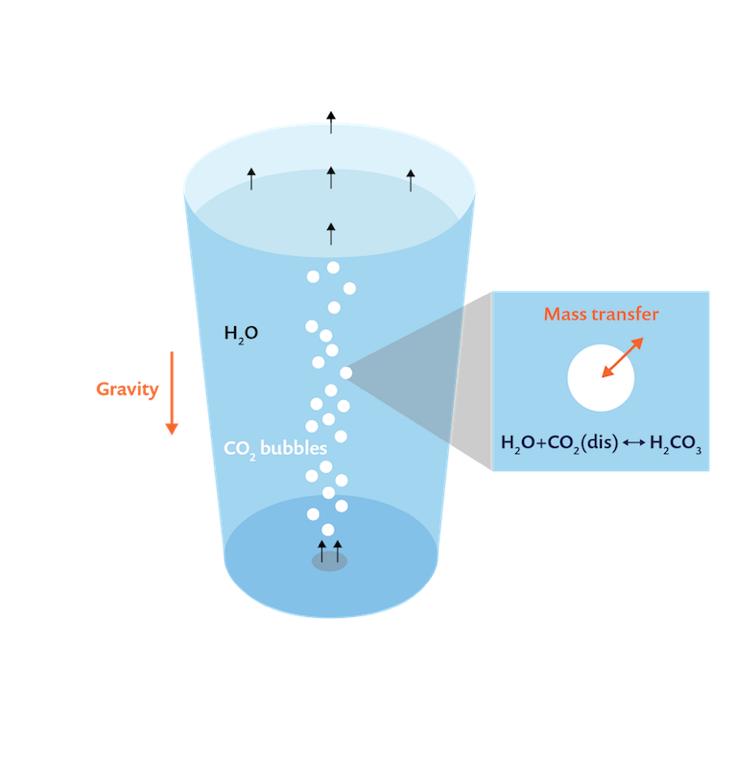 Схема, иллюстрирующая процесс газирования в стакане минеральной воды.