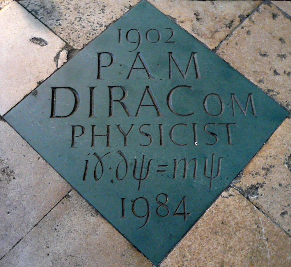 A photograph of a plaque in London honoring Paul Dirac.