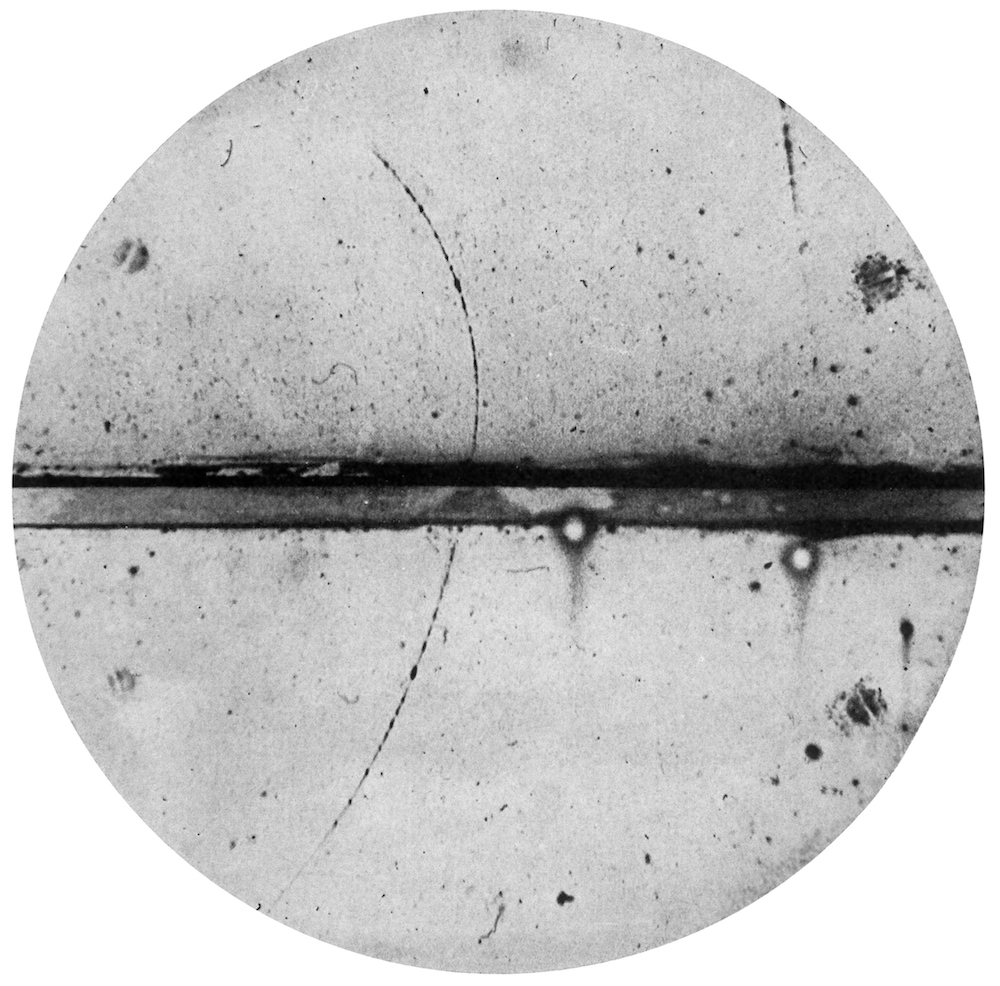 The first photograph of a positron.