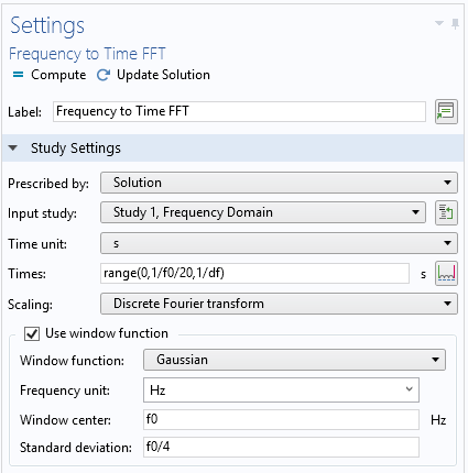 A screenshot of the frequency-to-time FFT study settings.