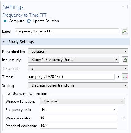 Настройки исследования Frequency to Time FFT.