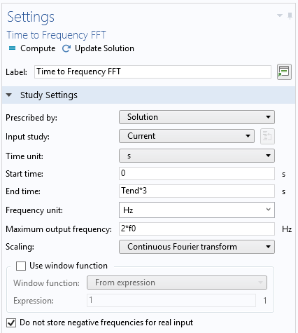 A screenshot of the Settings window for the Time-to-frequency FFT study.
