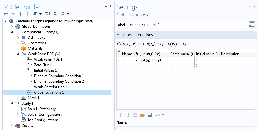 A screenshot showing the Global Equations settings in COMSOL Multiphysics.