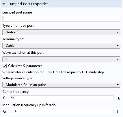 A screenshot of the Lumped Port Settings window in the COMSOL® software.
