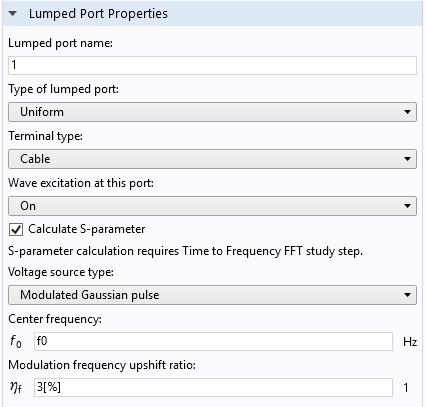 Окно настроек узла Lumped Port (Сосредоточенный порт) в программном обеспечении COMSOL®.