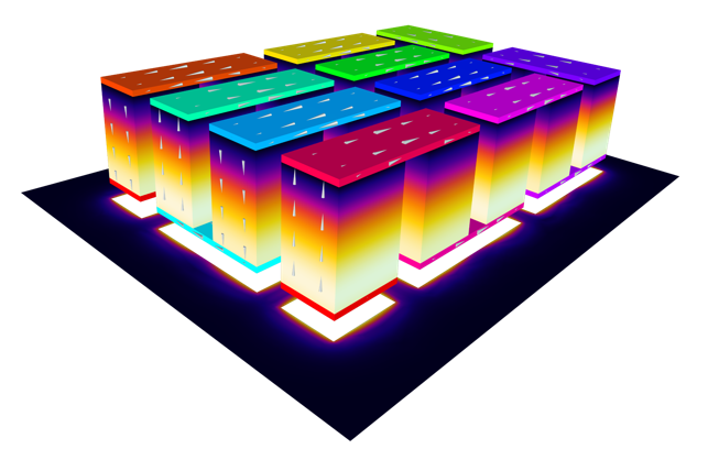 A thermoelectric cooler, one example of a thermoelectric device, modeled with COMSOL Multiphysics®.