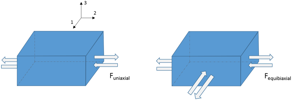 An illustration of uniaxial and equibiaxial tension and compression tests.