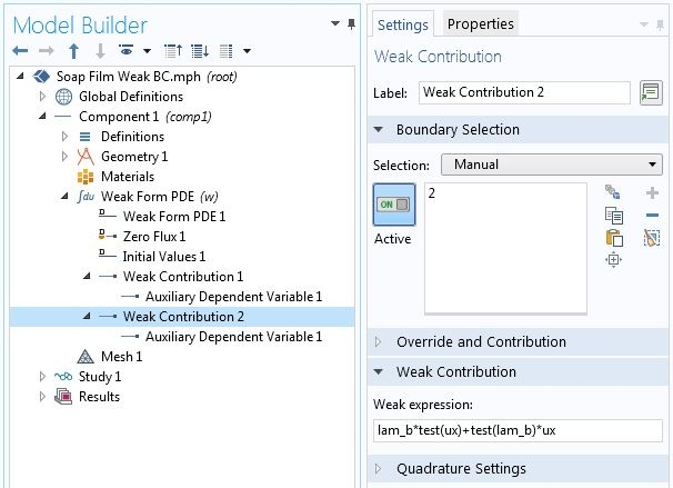 A screenshot of the settings of a second Weak Contribution in the COMSOL software GUI.