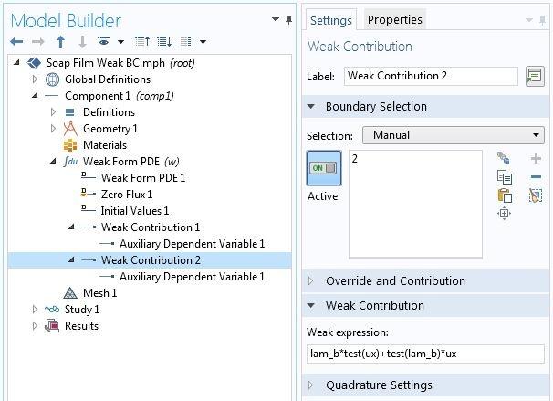 Снимок экрана с настройками второго интерфейса Weak Contribution (Слагаемое в слабой форме) в графическом интерфейсе программного пакета COMSOL.