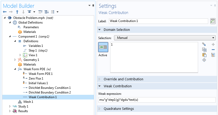 A screenshot of the Weak Contribution settings for implementing an inequality constraint in COMSOL Multiphysics.