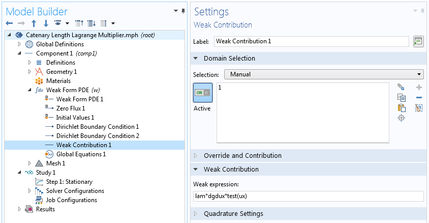 A screenshot showing the Weak Contributions settings in COMSOL Multiphysics.
