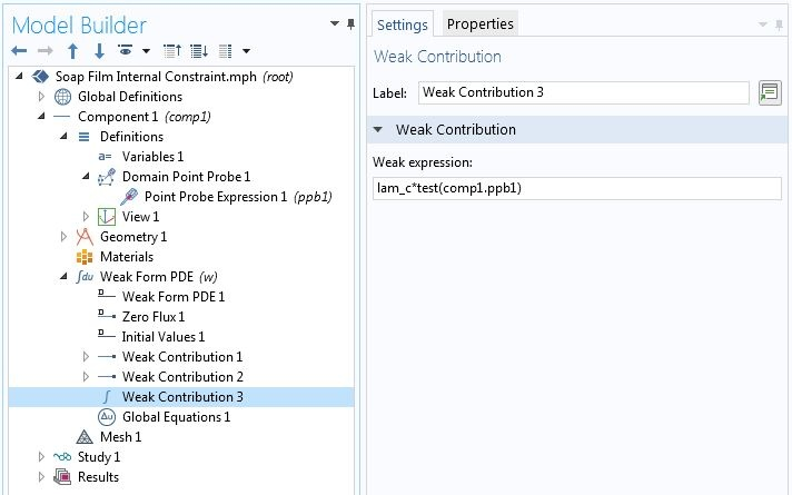 A screenshot of the settings of a third Weak Contribution in the COMSOL software GUI.