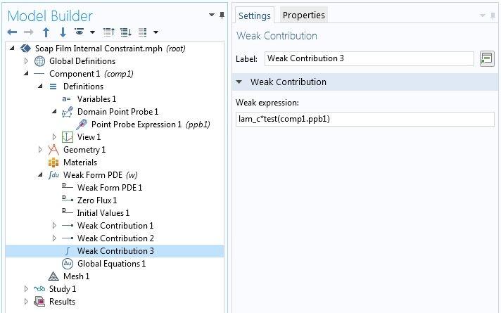 Снимок экрана с настройками третьего интерфейса Weak Contribution (Слагаемое в слабой форме) в графическом интерфейсе программного пакета COMSOL.