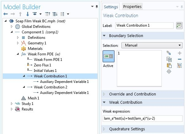 A screenshot of the Weak Contribution settings in the COMSOL software GUI.