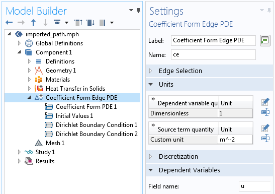 A screenshot of the Coefficient Form Edge PDE interface Settings window.