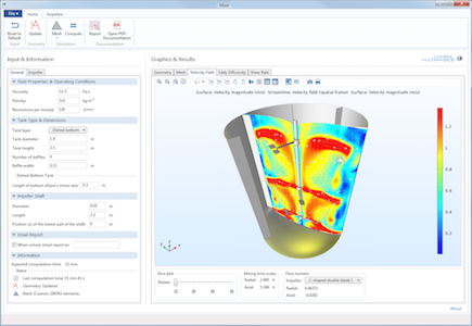 Mixer app compiled with COMSOL Compiler.
