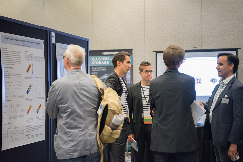 Attendees spend much of the conference browsing and discussing other users' poster presentations