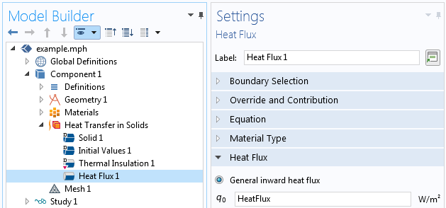 A screenshot of the boundary heat flux Settings window.