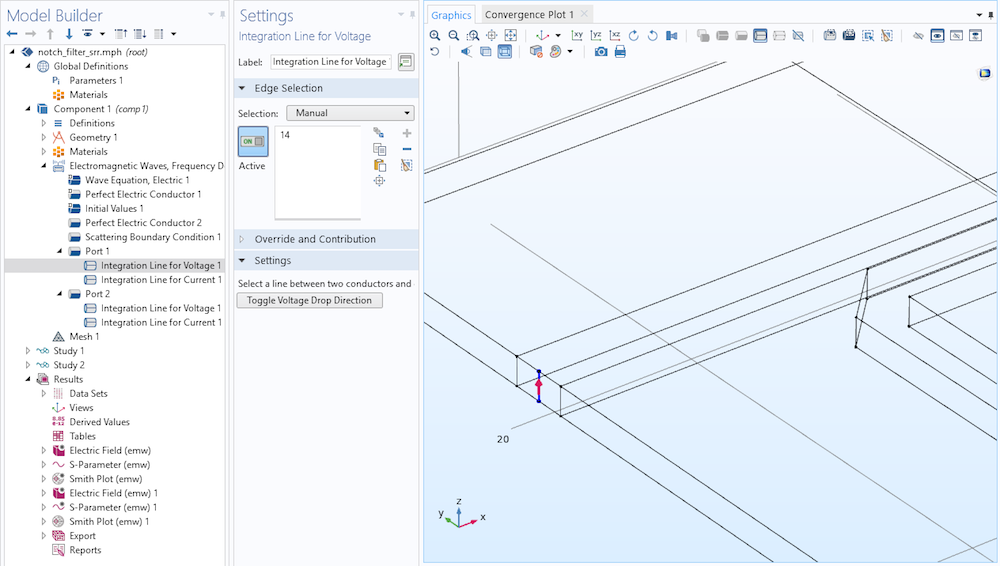 A screenshot of the Integration Line for Voltage settings in COMSOL Multiphysics®.