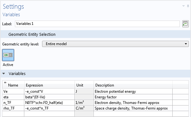 A screenshot of the local variable settings for the nanowire model.