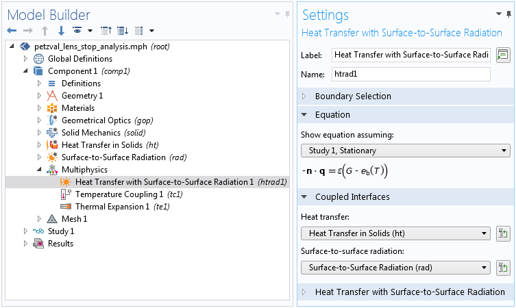 A screenshot of the settings for coupling Heat Transfer in Solids and Surface-to-Surface Radiation.