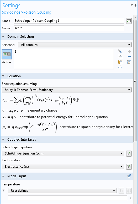 A screenshot of the Settings window for the Schrödinger-Poisson multiphysics coupling.