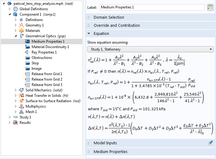 A screenshot of the COMSOL GUI with equations for the Sellmeier optical dispersion model.