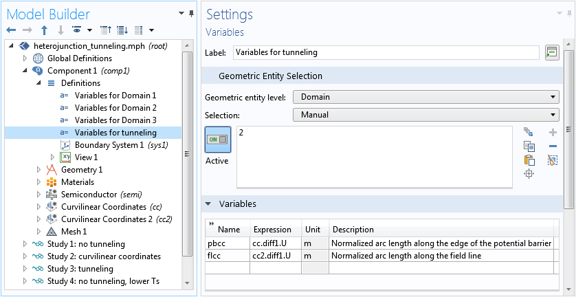 A screenshot of the settings for the tunneling variables.