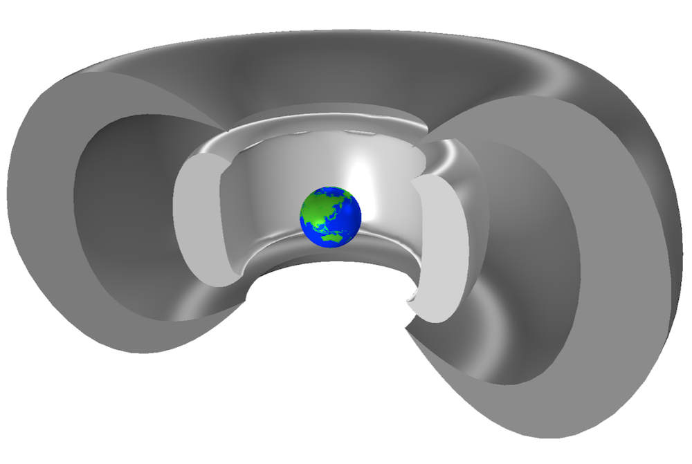 An image of a COMSOL Multiphysics® model showing the Van Allen belts surrounding Earth.