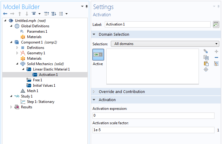 A screenshot of the Activation feature settings used to activate material.