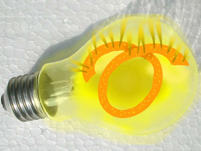 An idea of an efficient incandescent light bulb shown as an illustration over a photo.