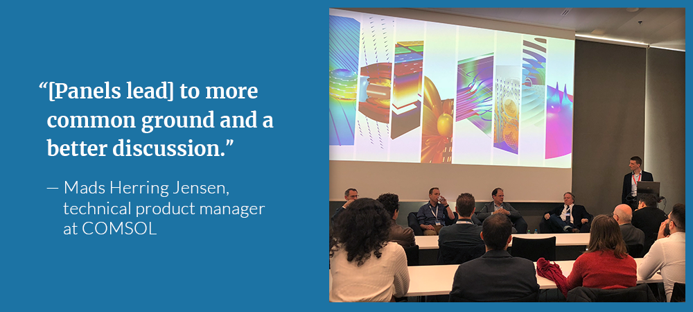 An image of an acoustics panel discussion at the COMSOL Conference alongside a moderator quote.