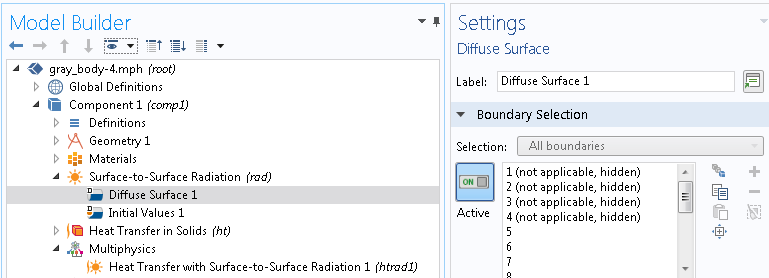 A screenshot of the Diffuse Surface settings in COMSOL Multiphysics.