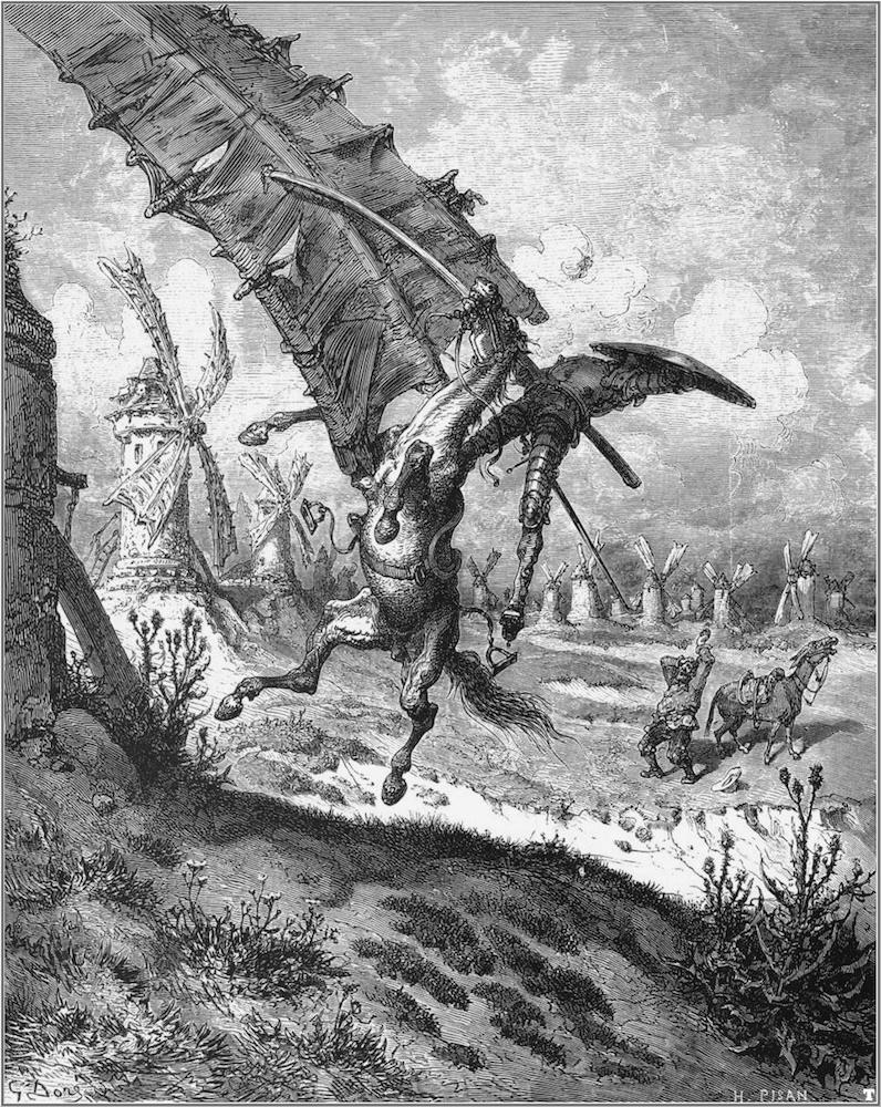A black-and-white illustration of Don Quixote.