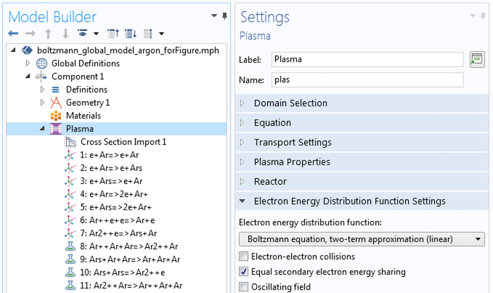 A screenshot of the Electron Energy Distribution Function Settings window.