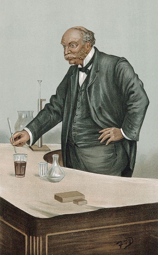 A painting of Lord Rayleigh working on argon.