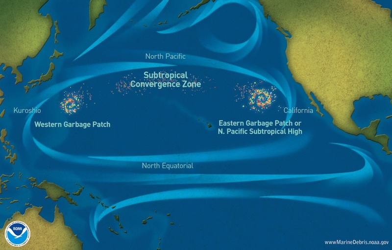 A map showing the location of the Great Pacific Garbage Patch in the North Pacific subtropical zone.