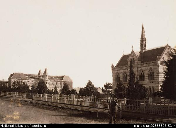 A photograph of the University of Adelaide circa 1882, when Horace Lamb taught there.