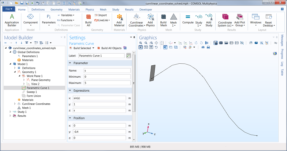 A screenshot of the Graphics window showing a parametric curve.