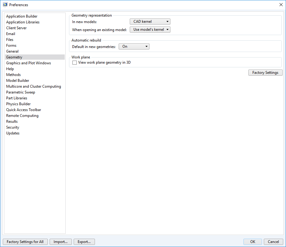 Screenshot of the Preferences window in the COMSOL software