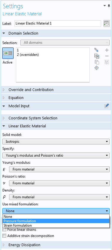 A screenshot showing how to access the nearly incompressible material option in COMSOL Multiphysics.