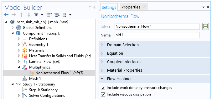 Screenshot showing how to access flow heating features in COMSOL Multiphysics.