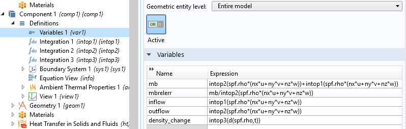A screenshot showing a table of variables and their definitions.