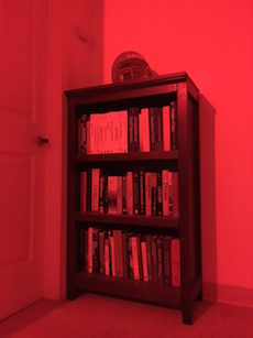 A photograph showing a red setting of a lighting system.