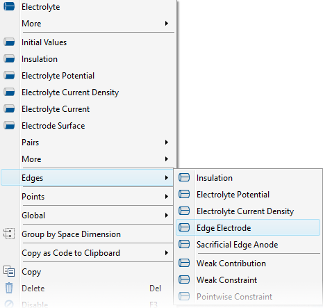 A screenshot showing how to access the Edge Electrode feature in COMSOL Multiphysics version 5.4.