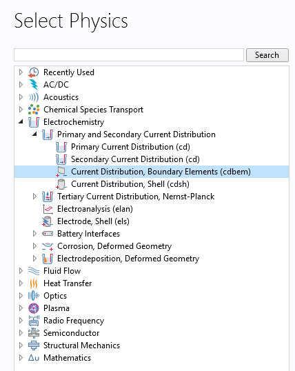 A screenshot of the Select Physics window in COMSOL Multiphysics version 5.4.