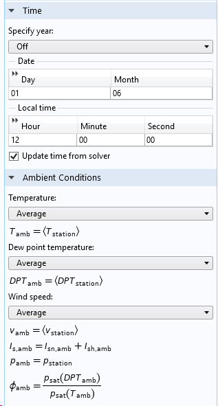 A screenshot that shows how to define the ambient environmental data.