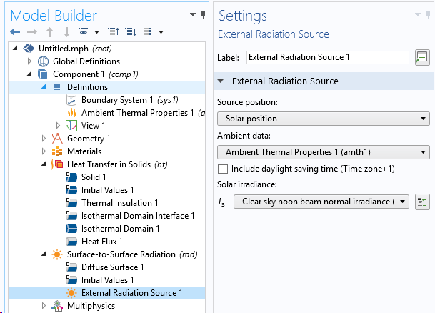 A screenshot of the Settings window showing the ambient solar irradiance as an input for the External Radiation Source feature.
