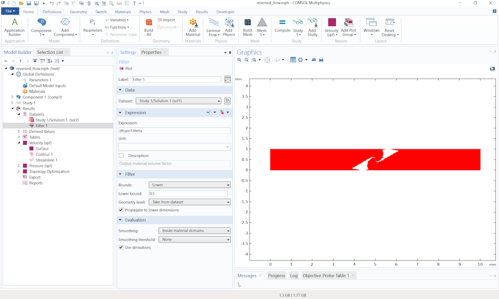 A screenshot of the Filter dataset and a results plot in the COMSOL software.